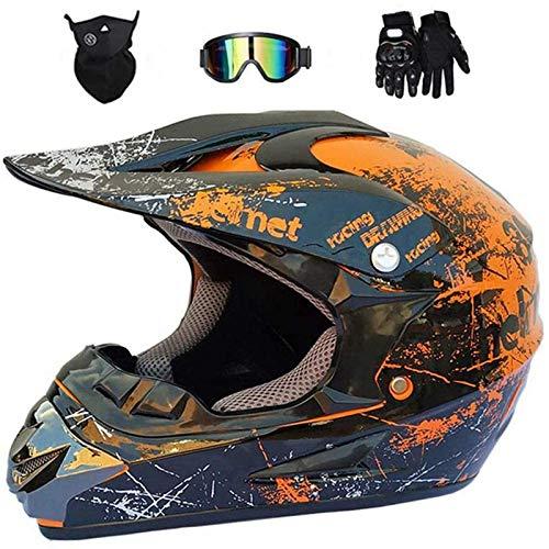 HENGHA Professional Motocross Helmet,Unisex Bike Enduro Downhill ATV/BMX Off Road Helmets,Youth Motocross Helmet,Kids Motorcycle Bike Helmet,D.O.T Certified (A, M)