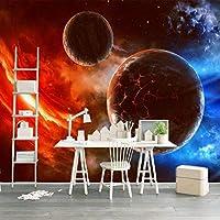 カスタマイズされた3D壁画モダンユニバース星空惑星写真壁紙リビングルームテレビ寝室の背景壁の装飾3D壁画-450X300cm(177.16by118.11in)
