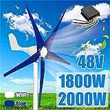Kücheks 200W 48 voltios 5 Hoja de Fibra de Nailon Horizontal Viento doméstico, para turbinas, generador, energía, Molino de Viento, energía para Carga de turbinas