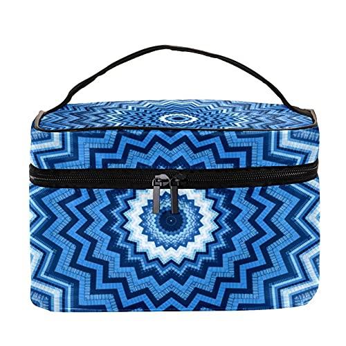 Bolsa de maquillaje con diseño de mandala azul caleidoscopio para viajes, bolsa de maquillaje grande, organizador con cremallera, para mujeres y niñas