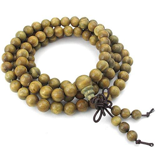 Joyas para hombre KONOV pulsera de cuentas para mujer, 5 mm en tibetano budista cuentas oración Mala ineract cadena, madera, marrón