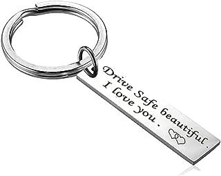 Custom Fashion Keyring Gifts Engraved Drive Safe Keychain Couples Boyfriend Girlfriend Jewelry Key Chain Newsilk Store