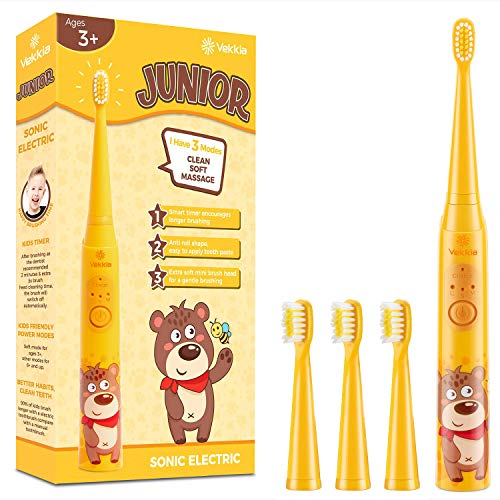 Vekkia Little Bear kids Electric Toothbrush, 2 Minutes Timer for Age 3+, 4 Brush Heads, (Rechargeable)