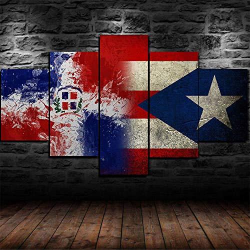 Cuadro En Lienzo, Imagen Impresión, Pintura Decoración, Cuadro Moderno En Lienzo 5 Piezas Xxl,125X60Cm,Bandera De Puerto Rico República Dominicana Murales Pared Hogar Decor