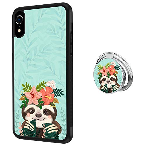 iPhone Xr Case Soft Black TPU Rubber and PC Anti-Slip Grip Cover Case, Shockproof Defend Protective Phone Case for iPhone Xr (Cute Sloth)