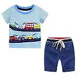 Trajes de 2 Piezas para Bebés y Niños Material de Algodón Puro Estampado de Automóviles + Pantalones Cortos Rayas de algodón Trajes de Verano Ropa de Verano para Bebés (Azul-1,5-6 años)