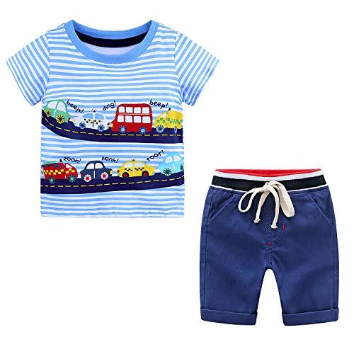 Conjunto de Ropa para Niños Camisetas con Estampado de Coche para Niños Trajes de Verano para Niños de 2 Piezas con Pantalones Cortos Conjuntos de Ropa de Algodón