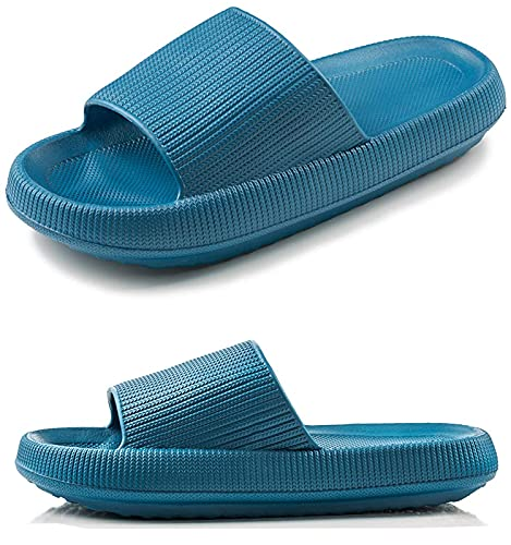 Rosyclo Pillow Slides Slippers, Bathroom Shower Sandal, Non-Slip Ultra Soft Thick Sole Quick Drying Platform Slippers Open Toe Indoor Pool Beach Slippers for Women Men (Royal Blue, 42/43)