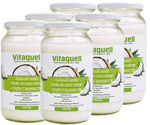 Vitaquell 6 x Kokosöl 860ml Bio, nativ kaltgepresst zum Kochen, Backen, Braten oder für die Hautpflege
