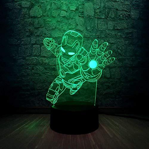 Super Hero 3D Illusionslampe für Kinder Jungen Mädchen Geschenk 3D Nachtlicht für Schlafzimmer neben Tisch, 16 Farbwechsel LED Stimmungslampe Schreibtisch Tischlampe Kinder Geschenk