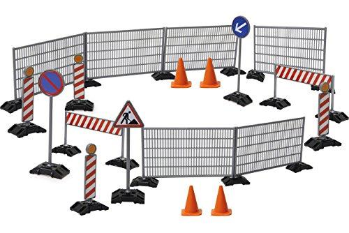 Jamara 412413 Baustellenset 1:20-38-Teiliges-Spielset-2 Schranken, 4 Pylonen, 3 Warnschilder, 4 Leitbaken (Warnbake), 6 Zäune und 19 Fußplatten