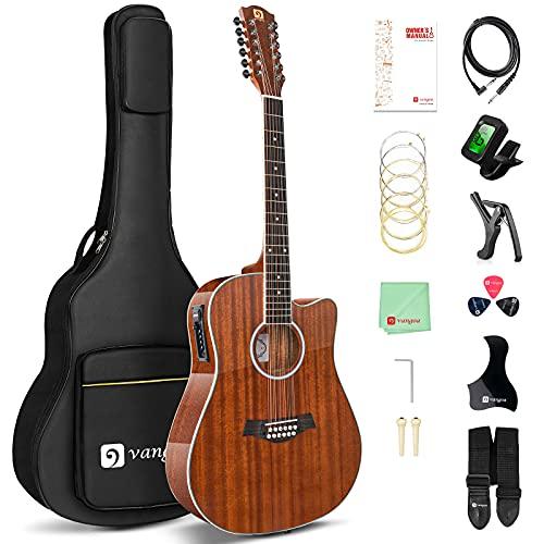 Vangoa 12 Saitige Gitarre, Akustisch-elektrische Dreadnought Cutaway Gitarre Bundle, Sapele Korpus, Braun