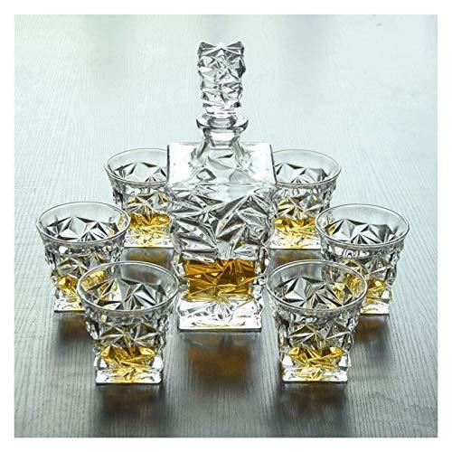 Decantador de whisky Juego de decantores de whisky de cristal, decantador de cristal de cristal para alcohol con tapón, diseño cuadrado Decantador de vinos - Bebidas elegantes Decoración de barras de