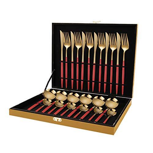 24-bitars rostfritt stål bestick silverware set mycket lämplig för familj/camping/fest användning lätt att rengöra och diskmaskin rena friska och spegel polerade red gold