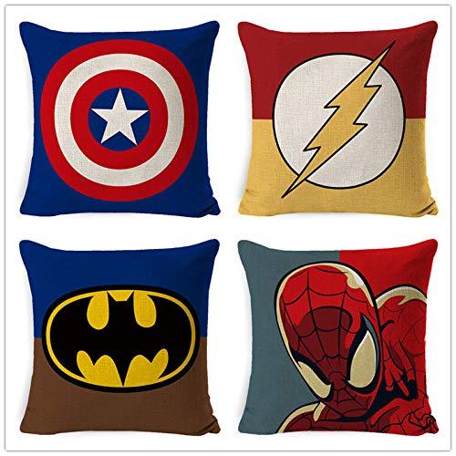 ZHAOCC Funda de cojín Conjunto de 4 Juegos de Funda de Almohada de Lino Hug Serie de superhéroes de Dibujos Animados Superman Spiderman Batman Funda de Almohada 45X45Cm
