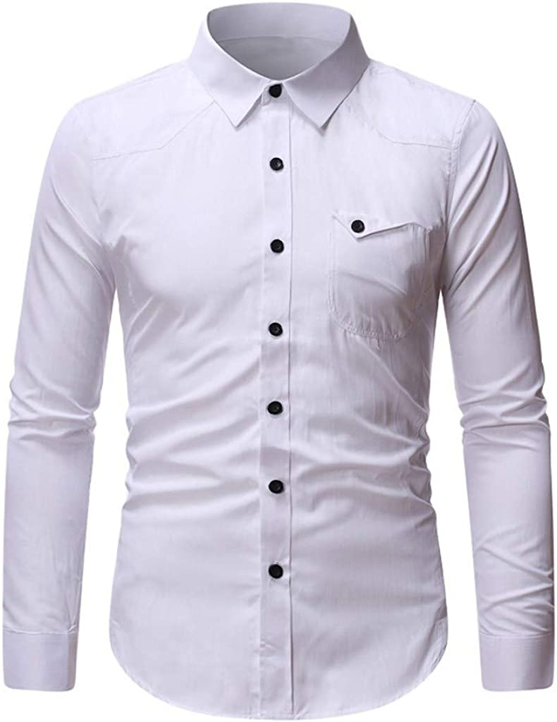 MODOQO Men's Button Down Shirts Long Sleeve Casual Loose Pure Color Blouse Tops