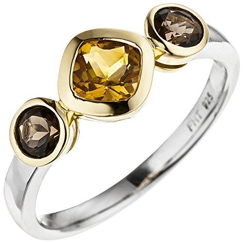 JOBO Damen-Ring aus 925 Silber Bicolor vergoldet mit Citrin und Rauchquarz Größe 54