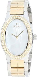 ساعة ستانلس ستيل لونين بيضاوية انالوج بعقارب مزينة بفصوص للنساء من صنيكس S0370-IPS-IPG-W - فضي وذهبي
