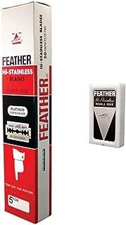 100 FEATHER Hi-Stainless Platinum Double Edge Razor Blades 5's
