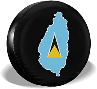 CLTT9KF St Lucia Flag and Map Tire Cover for Jeep Truck Trailer and Many Vehicles