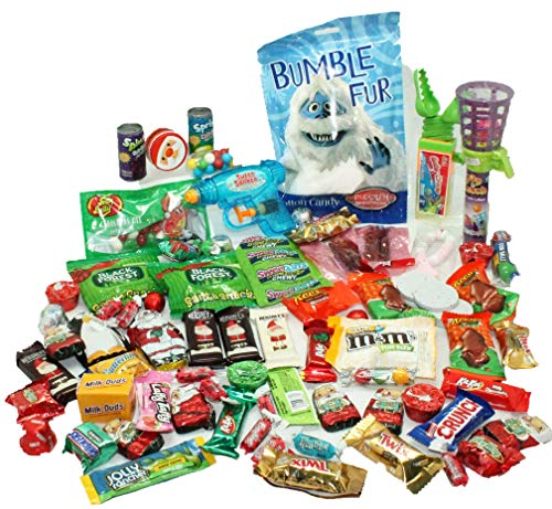 Stocking Stuffers For Kids! Ready-Fill 50 pc Christmas Candy, Hersheys Chocolate, Cotton Candy, Jelly Belly, Novelty Candy Toys and Other Christmas Candy Treats - 55+ PCS! Christmas Stocking Stuffers!