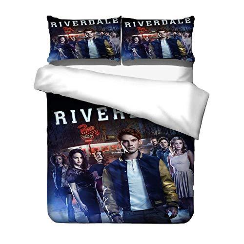 Riverdale Bettwäsche 135x200 Set für Jungen und Mädchen - Riverdale Bettwäsche 2 teilig mit schön Muster, weich Flauschig Bettbezug mit Reißverschluss und 1 mal Kissenbezug (6)