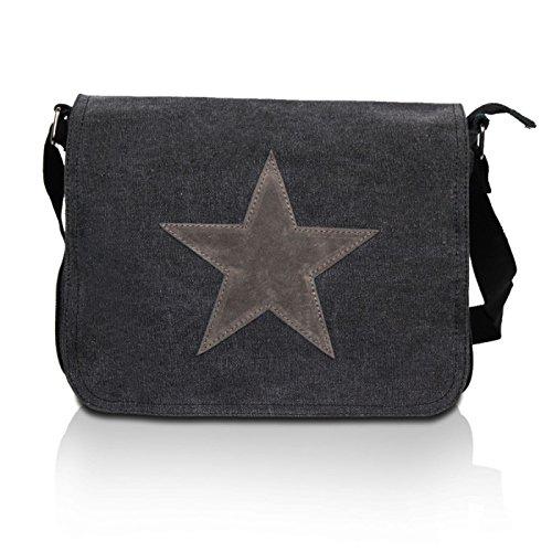 Glamexx24 Tasche Handtaschen Schultertasche Umhängetasche mit Stern Muster Tragetasche TE201620, 23111 Schwarz, Einheitsgröße