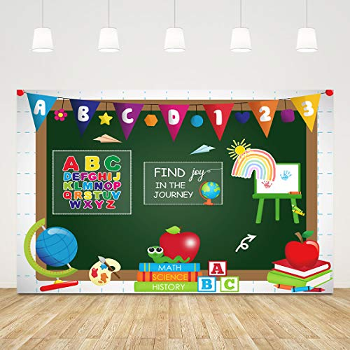 5x3ft Course Online Teaching Backdrop Blackboard Photography Background Course for Back to School Party Teacher Classroom Chalkboard Decorations Student Banner Wallpaper Photobooth Studio Props
