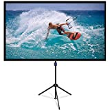 NAQIER Projector Screen with Tripod Stand, 90Inch 4K HD 16:9 Outdoor/Indoor 1.1Gain 2 in 1 Portable Projector Screen (Easy to Clean 160° Viewing Angle & Includes a Carry Bag) for Movie