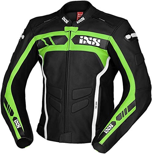 IXS Sport RS-600 1.0 - Chaqueta de piel para motocicleta, color negro, verde y blanco 56