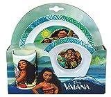 Fun House 5602 Disney VAIANA Ensemble Repas composé d'une Assiette, d'un Bol et d'un Verre pour Enfant, Blanc