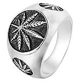 SAINTHERO Men's Vintage Stainless Steel Ring Weed Marijuana Cannabis Leaf Symbol Rock Punk Hip-hop Jewelry Silver Size 9