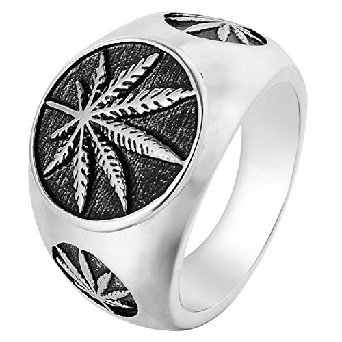 SAINTHERO Men's Vintage Stainless Steel Ring Weed Marijuana Cannabis Leaf Symbol Rock Punk Hip-hop Jewelry Silver Size 7
