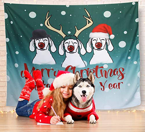 Christmas Wall Hanging Decorating Tapestry, Home Decor Wall Tapestry 59.151.2, Great Decorative Tapestry for Living Room, Kids' Room, Bedroom and Dorm, Unique Dogs Pet Design 2020 Christmas Gift.