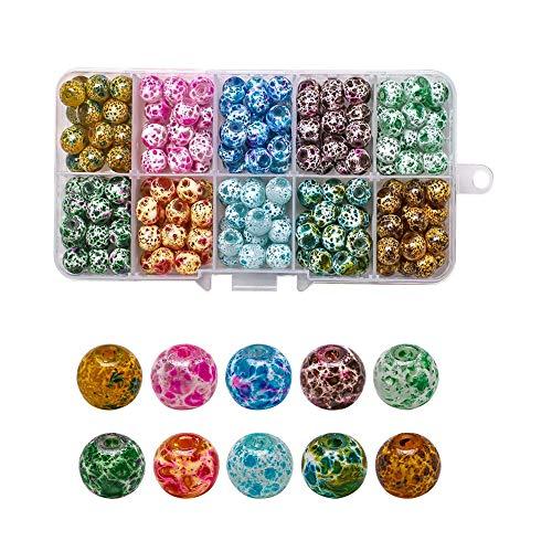 Perlas de Cristal, 200 Piezas Cuentas de Cristal de Colores, Perlas de Vidrio Redondas, Perlas Vidrio Portátiles Lisas para Pulseras Collares Pendientes Adornos para Vestidos, Accesorios de Joyería.
