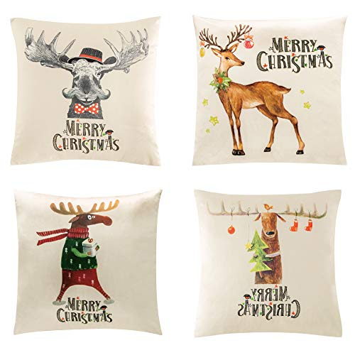 Bedsure Christmas Throw Pillow Cover 18x18 Inches Set of 4, Velvet Xmas Series Cushion Covers (Reindeer)