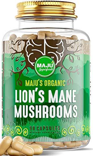 MAJU Strong Lions Mane Mushroom Capsules - Organic Mushrooms w/Fruiting Bodies Steam Extract w/Black Pepper Extract - Concentration, Memory & Immunity - Supplement Hericium Erinaceus