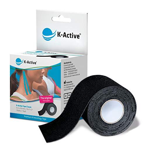 K-Active Tape Classic I 5 m x 50 mm I Kinesiologisches Tape I wasserfest I elastisch I hautschonend I Bandage I 1 Rolle I ungeschnitten I hypoallergener Acrylkleber (schwarz)