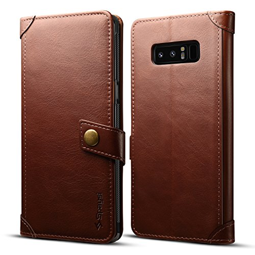 Spaysi Samsung Galaxy Note 8 Wallet Case Italian Genuine Leather Handmade Case for Note 8 Card Holder Case Slim Note 8 Flip Cover Case Book Style Galaxy Note 8 Folio Case Magnetic Closure (Dark Brown)