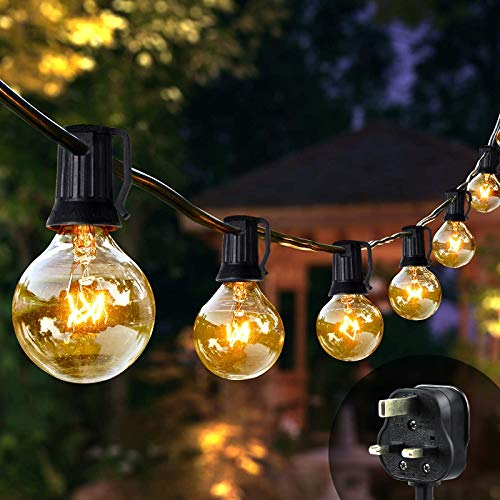 Bteng Outdoor String Lights Mains Powered, 31ft G40 Garden Festoon Lighting Waterproof Bulbs Lights for Indoor & Outdoor Décor Patio Party Wedding Christmas Tree Decoration (25+5 Bulbs)