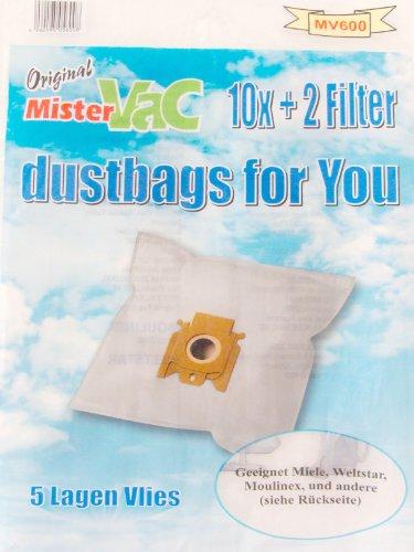 mistervac MV 600 / Staubsaugerbeutel Vlies 5-lagig / Vorteilspack 20 Tüten + 4 Filter geeignet Miele Moulinex Weltstar, Weiß