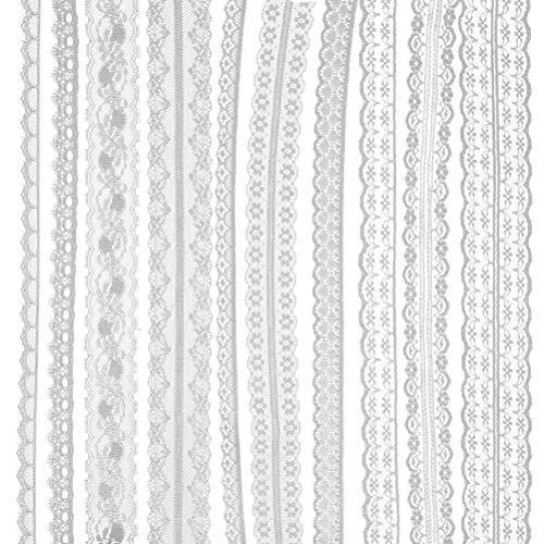 QLOUNI 10 Rollen Spitzenband, 30 m Spitzenbordüre, Vintage Spitzenborte, Geschenkband, Weiß Band für Hochzeit Tischdeko Basteln Handwerk Hochzeit Party Weihnachten