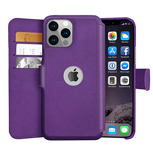 LUPA iPhone 12/12 Pro Wallet Case -Slim iPhone 12/12 Pro Flip Case with Credit Card Holder, for Women & Men, Faux Leather iPhone 12/12 Pro Purse Cases with Magnetic Closure, Purple