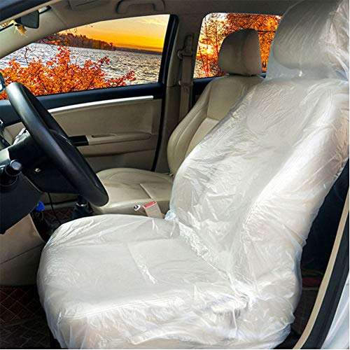 10 Pezzi Coprisedili Auto Usa e Getta in Plastica, Copri Sedili per Auto Coprisedile Auto Anteriore in Impermeabile per Officine 127x75cm Trasparente