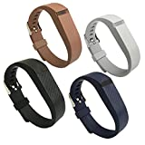 4PCS EPYSN Compatible with Fitbit Flex Band,Silicone Replacement Wristband For Fitbit Flex Bracelet Sport Bands with Metal Watch Band Buckle Large/Small Grey-Black-Brown-Navy