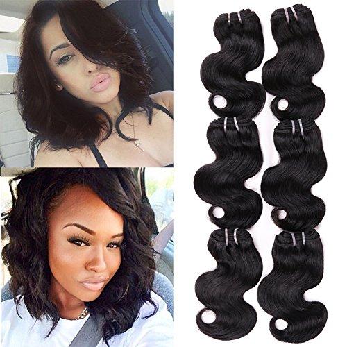 HANNE 6Pcs Brazilian Virgin Hair Body Wave 8 Inches Short Curly Hair Virgin Brazilian Hair...