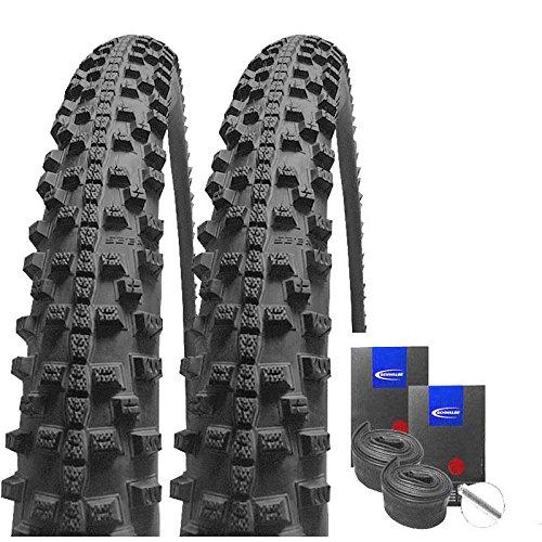Set: 2 x Schwalbe Smart Sam Plus Pannenschutz Reifen 26x2.25 + Schwalbe SCHLÄUCHE Autoventil