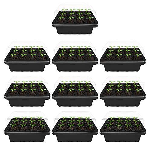 10 macetas transparentes de plástico, 12 agujeros, bandeja de semillas hidratante y preservante de calor, mini invernadero para semillas con tapa para emparejar y crecer semillas (negro)