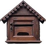 Buzón Buzón - Teca, Retro Creativo Con cerradura Exterior Impermeable Impermeable Colgante de pared Buzón de madera, Adecuado para villas, patios, casas - Buzones de montaje en pared de 35X16X33 cm