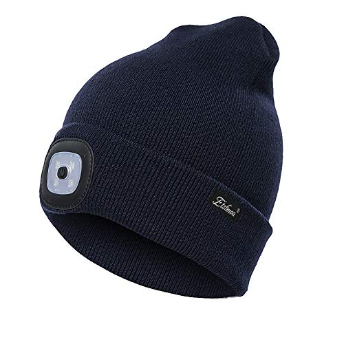 Etsfmoa Unisex LED Beanie Hat with Light,Gifts for Men Dad Him USB Rechargeable Winter Knit Lighted Headlight Headlamp Cap (Navy Blue)